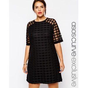 ASOS Curve Black Grid Plaid Mesh Overlay Dress